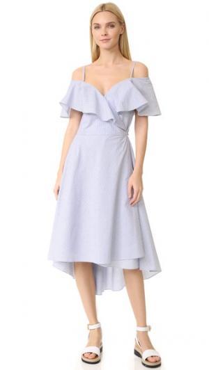 Платье в полоску pushBUTTON. Цвет: голубая полоска