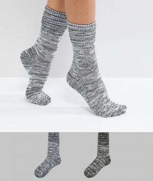 Green Treat Комплект из 2 пар серых толстых носков. Цвет: серый