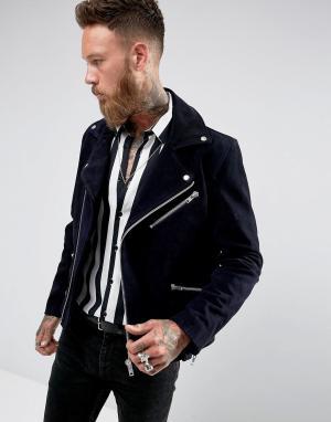 Black Dust Темно-синяя замшевая байкерская куртка. Цвет: темно-синий