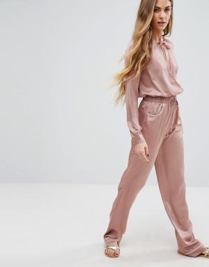 Young Bohemians Комбинируемые брюки с широкими штанинами. Цвет: розовый