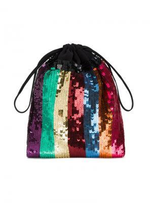 Полосатый мешковатый клатч с пайетками Attico. Цвет: металлический