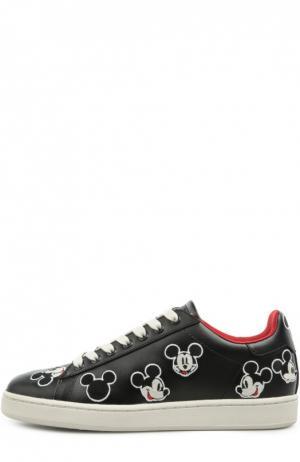 Кожаные кеды Disney с вышивкой MOA. Цвет: черный