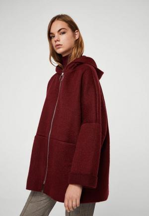 Пальто Mango. Цвет: бордовый