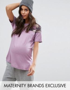 Missguided Maternity Футболка для беременных с сетчатой камуфляжной вставкой Mat. Цвет: фиолетовый