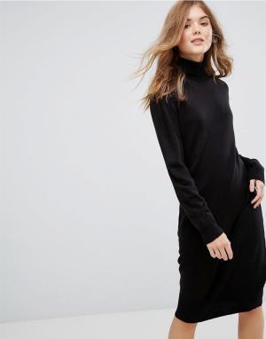 JDY Трикотажное платье с длинными рукавами. Цвет: черный