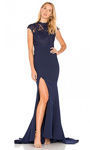 Кружевное вечернее платье tyra Elle Zeitoune. Цвет: синий