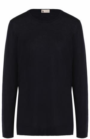 Пуловер из смеси шелка и кашемира с круглым вырезом Colombo. Цвет: темно-синий