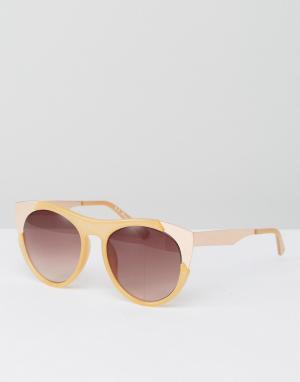 AJ Morgan Солнцезащитные очки в бледно-палевой оправе. Цвет: кремовый