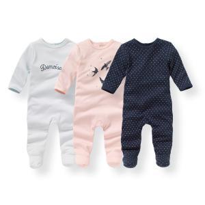 Комплект из 3 пижам хлопка с принтом 0 мес -3 лет La Redoute Collections. Цвет: синий + розовый + темно-синий