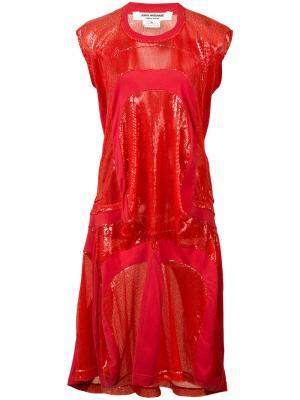 Платье-футболка с пайетками Junya Watanabe Comme Des Garçons. Цвет: красный