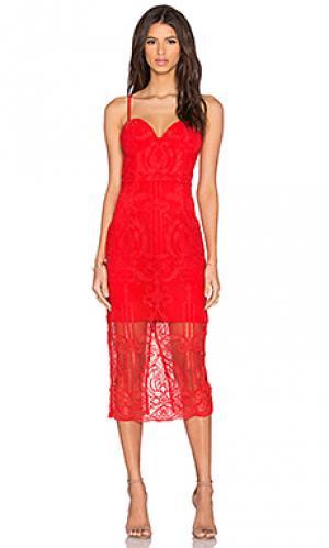 Платье с кружевным бюстье follow your heart Lumier. Цвет: красный