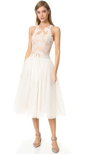 Вечернее миди-платье Monique Lhuillier. Цвет: белый шелк/телесный
