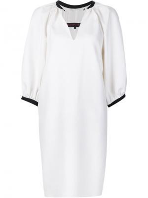 Платье-шифт с V-образным вырезом Martin Grant. Цвет: белый