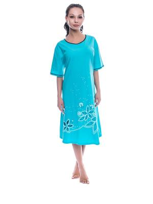 Ночная сорочка NICOLETTA. Цвет: бирюзовый