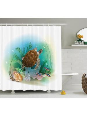Фотоштора для ванной Черепаха в морской глубине, 180*200 см Magic Lady. Цвет: белый, зеленый, коричневый, бежевый