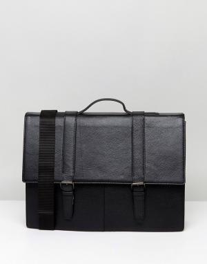 ASOS Черный кожаный портфель. Цвет: коричневый