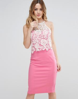 Paper Dolls Кружевное платье. Цвет: розовый