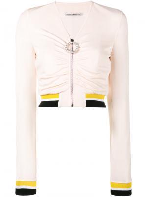 Спортивная кофта с V-образным вырезом Alessandra Rich. Цвет: розовый и фиолетовый