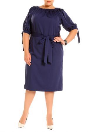 Платье, пояс Piena. Цвет: синий
