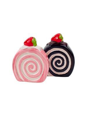 Набор солонка и  перечница Бисквит Elff Ceramics. Цвет: розовый, коричневый