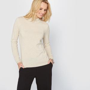Пуловер из кашемира, воротник-стойка, тонкий трикотаж ANNE WEYBURN. Цвет: бежевый экрю,индиго,розовая пудра,светло-серый меланж,черный