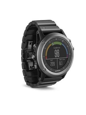 Умные часы Fenix 3 HRM Sapphire с металлическим браслетом и пульсометром GARMIN. Цвет: черный