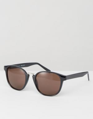 AJ Morgan Круглые солнцезащитные очки в черной оправе. Цвет: черный