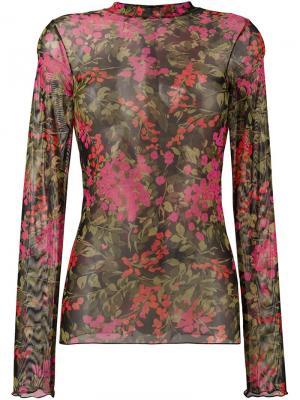 Прозрачная футболка с цветочным узором Ssheena. Цвет: розовый и фиолетовый