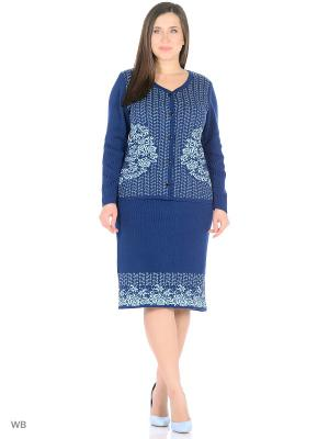Костюм (кардиган+юбка), модель Ира Dorothy's Нome. Цвет: синий, бирюзовый