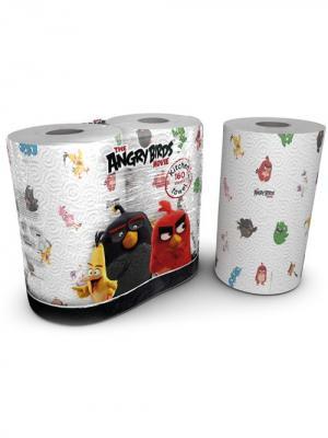 Полотенца кухонные Angry Birds 3-х слойные с рисунком, 2 рулона по 80 листов, 18.4 м World Cart. Цвет: белый