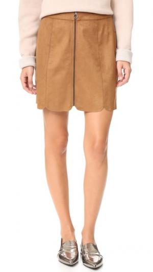 Мини-юбка Warwick на молнии WAYF. Цвет: коричневый