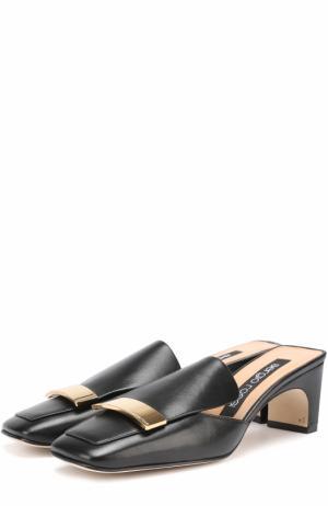 Кожаные сабо с металлической пряжкой Sergio Rossi. Цвет: черный