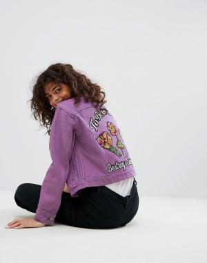 ASOS Фиолетовая укороченная джинсовая куртка с вышивкой. Цвет: фиолетовый