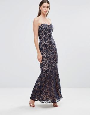 Sistaglam Кружевное платье-бандо макси. Цвет: черный