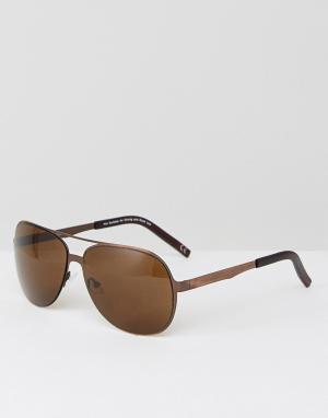 ASOS Солнцезащитные очки-авиаторы в матовой оправе медного цвета. Цвет: медный