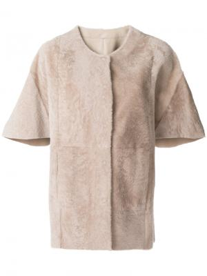 Пальто-кейп с короткими рукавами Drome. Цвет: телесный
