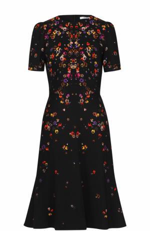 Приталенное платье-миди с принтом Givenchy. Цвет: черный