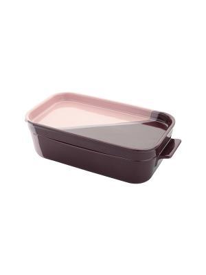 Керамическая кастрюля прямоугольная 1,2 Л Augustin Welz. Цвет: фиолетовый, розовый
