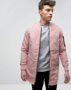 Brave Soul Длинная куртка. Цвет: розовый