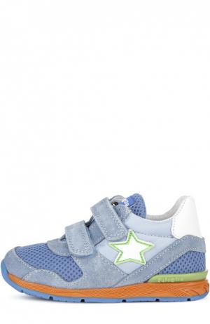 Замшевые кроссовки со вставками и застежками велькро Falcotto. Цвет: голубой