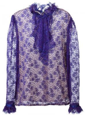 Кружевная рубашка с оборками Guy Laroche Vintage. Цвет: розовый и фиолетовый