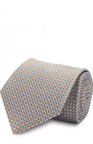Шелковый галстук с узором Eton. Цвет: кремовый