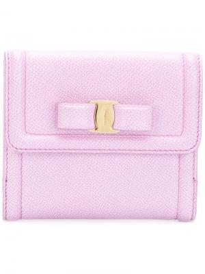 Бумажник с бантом Salvatore Ferragamo. Цвет: розовый и фиолетовый