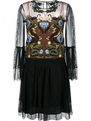 Прозрачное платье с вышивкой Alberta Ferretti. Цвет: чёрный