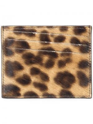 Визитница с леопардовым принтом Maison Margiela. Цвет: телесный