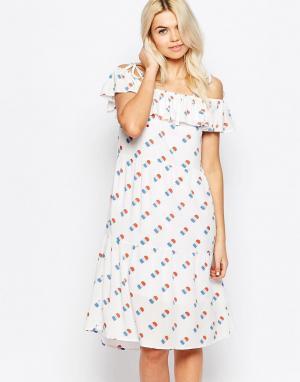 The WhitePepper Платье с баской и принтом мороженого. Цвет: мульти