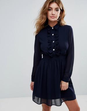 Club L Короткое приталенное шифоновое платье на пуговицах. Цвет: темно-синий