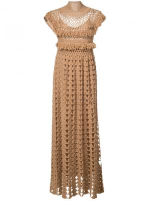 Вязанное платье с высоким горлом Ryan Roche. Цвет: коричневый