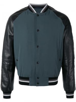 Куртка бомбер с кожаными рукавами Lanvin. Цвет: зелёный
