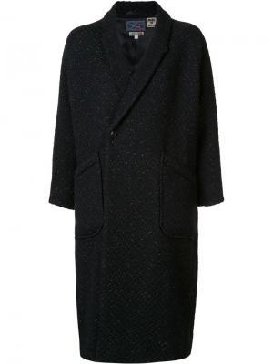 Двубортное пальто Blue Japan. Цвет: синий